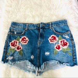 Free People Wild Rose Embroidered Denim Skirt 29